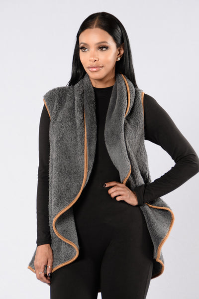 Furry Frenzy Vest - Charcoal