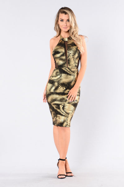 Foolish Heart Dress - Black/Gold