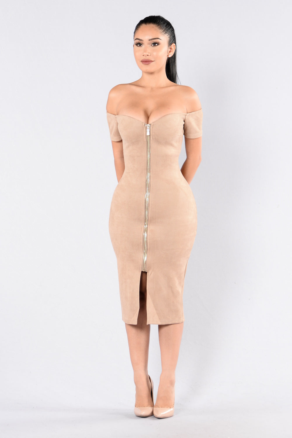 Zip It Dress - Taupe