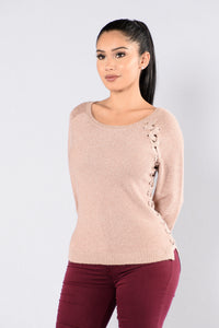 Sparkle In Your Eye Sweater - Rose Gold