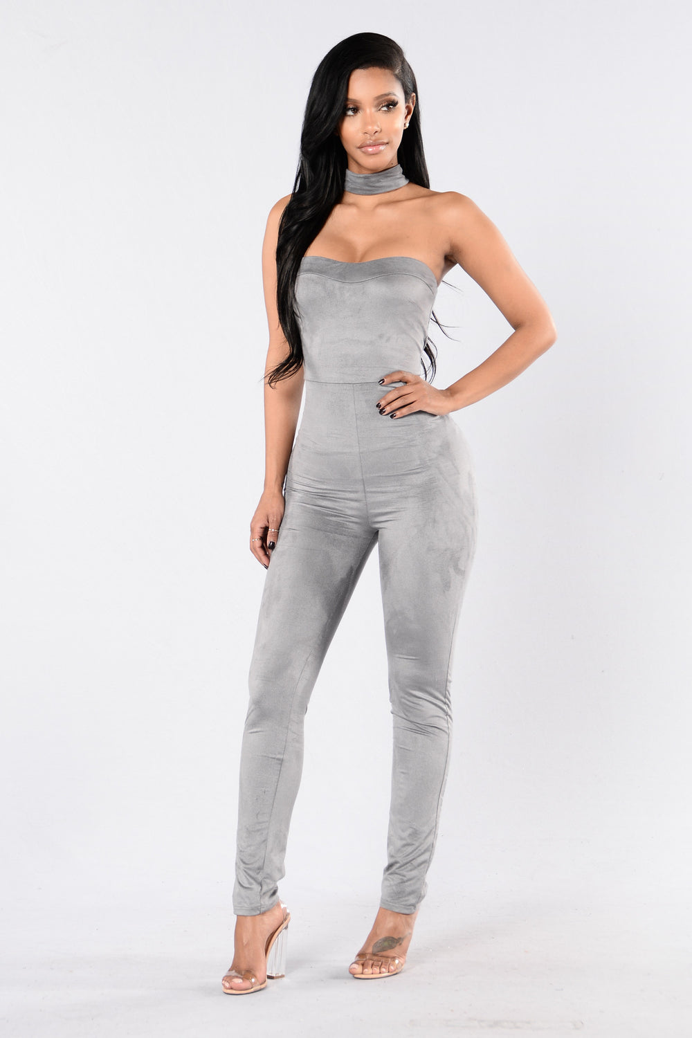 Pull Up To The Scene Jumpsuit - Grey