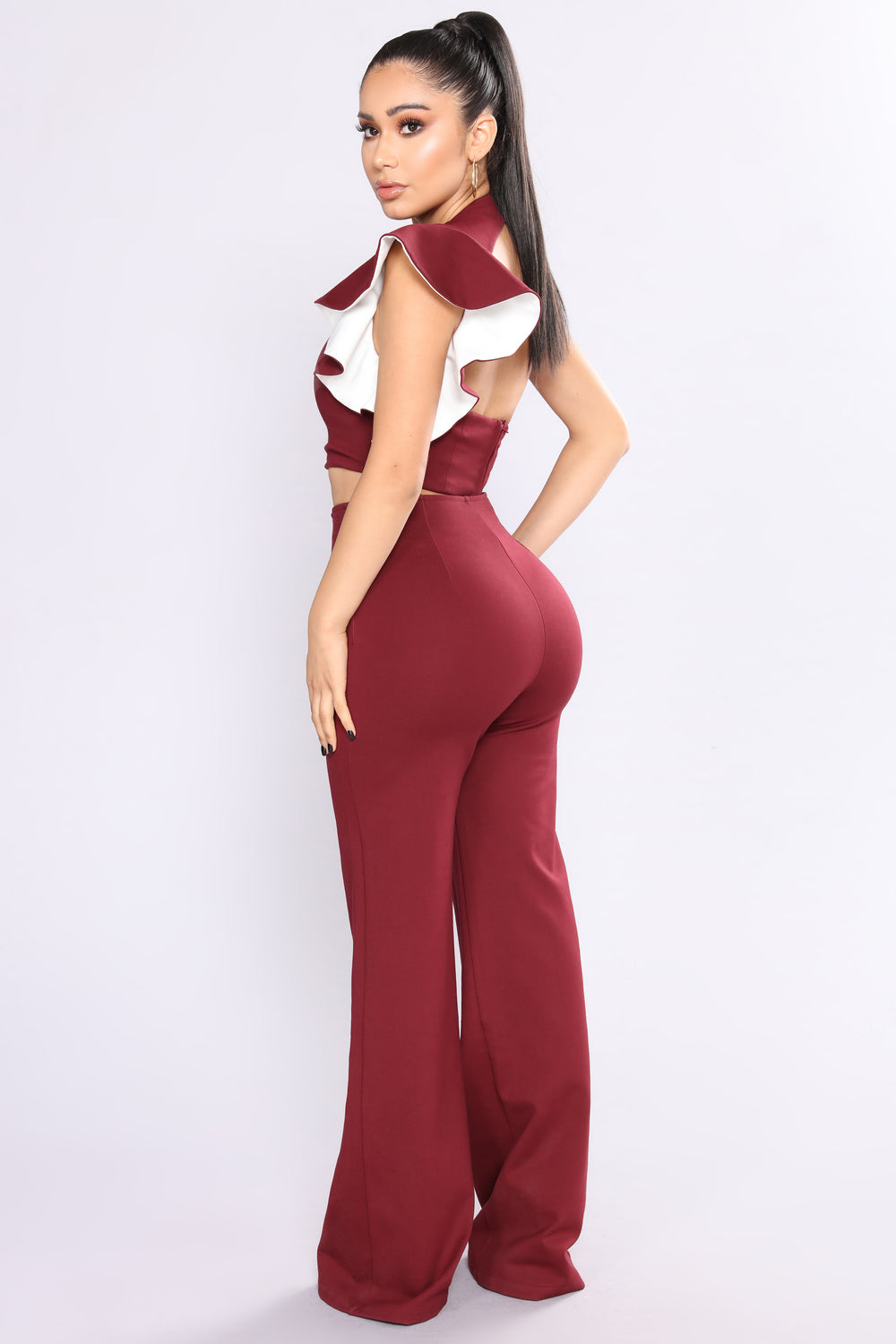 Frida Ruffle Pant Set - Burgundy/White