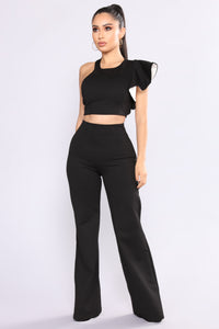 Frida Ruffle Pant Set - Black/White