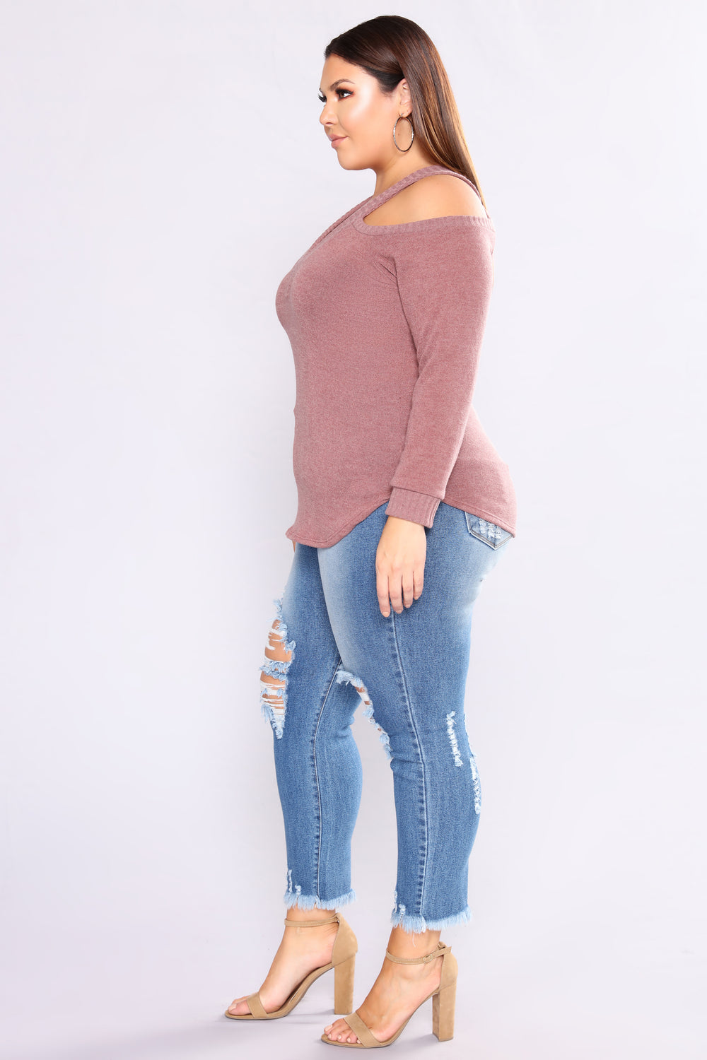 Dani Cold Shoulder Sweater - Mauve