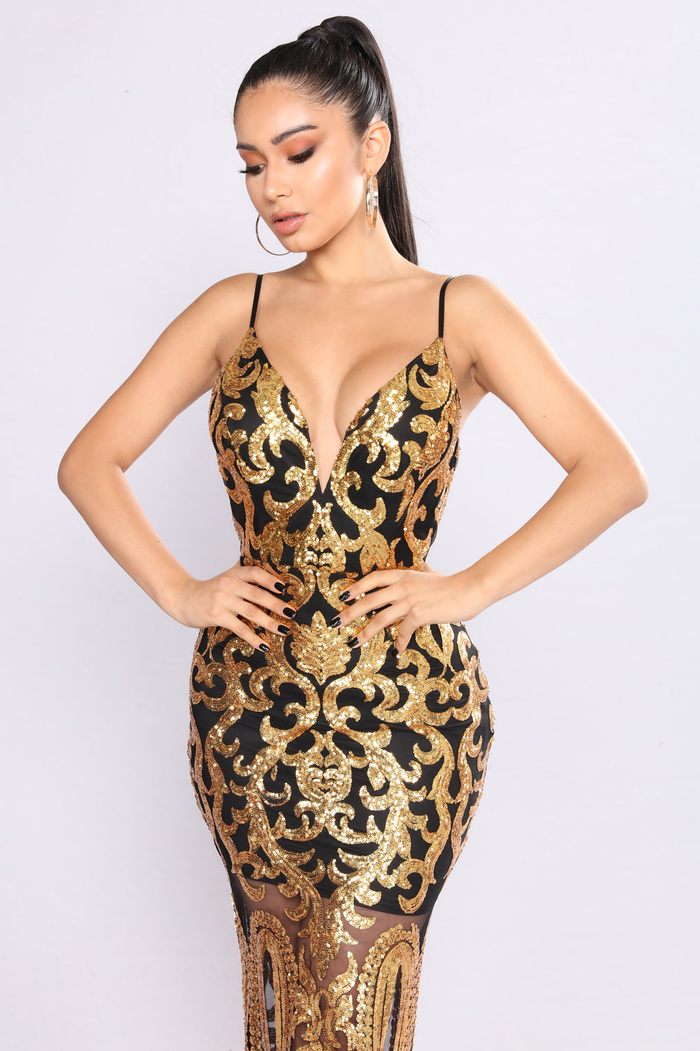 Guest Of Honor Sequin Dress - Black Gold