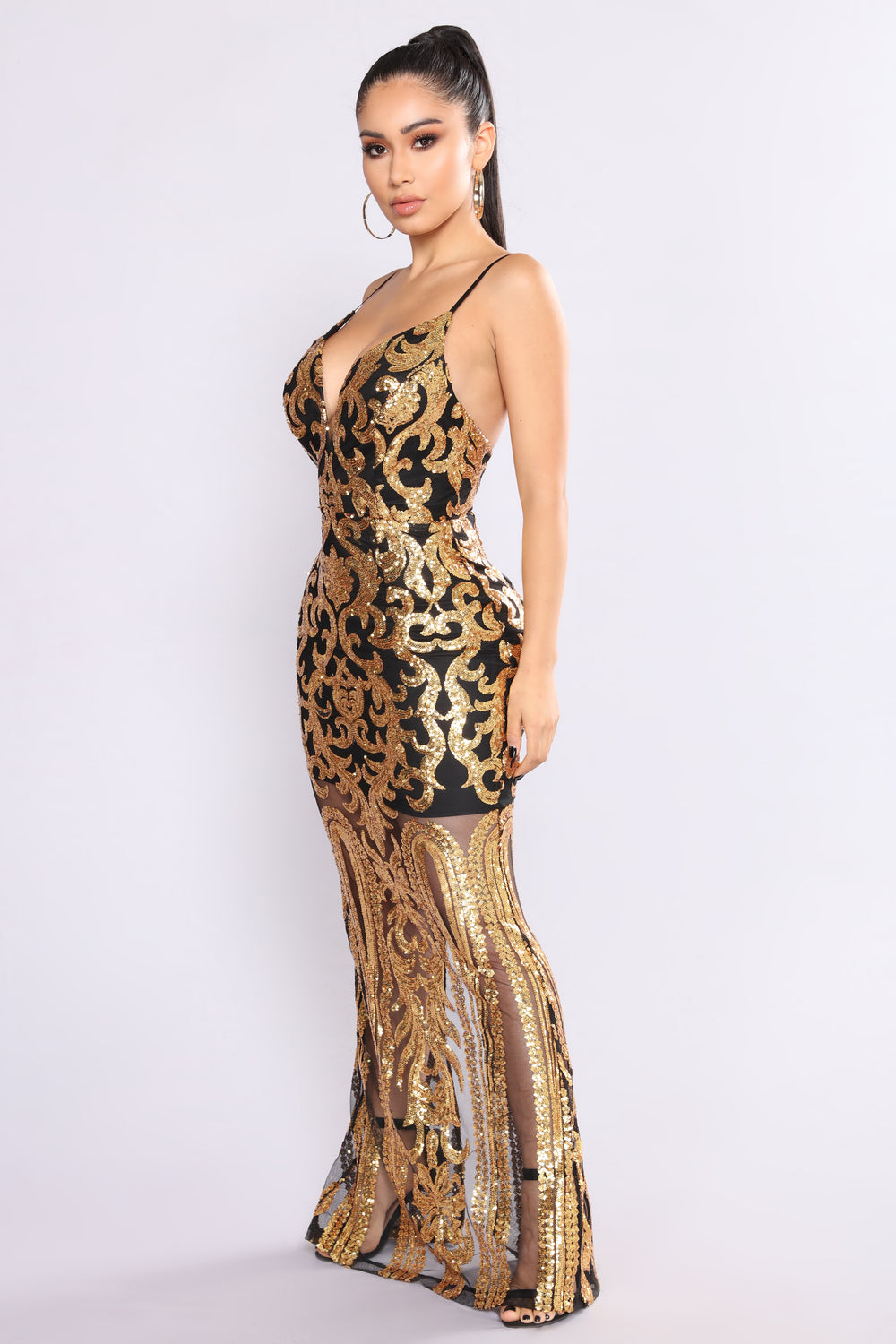 guest of honor sequin dress  black gold
