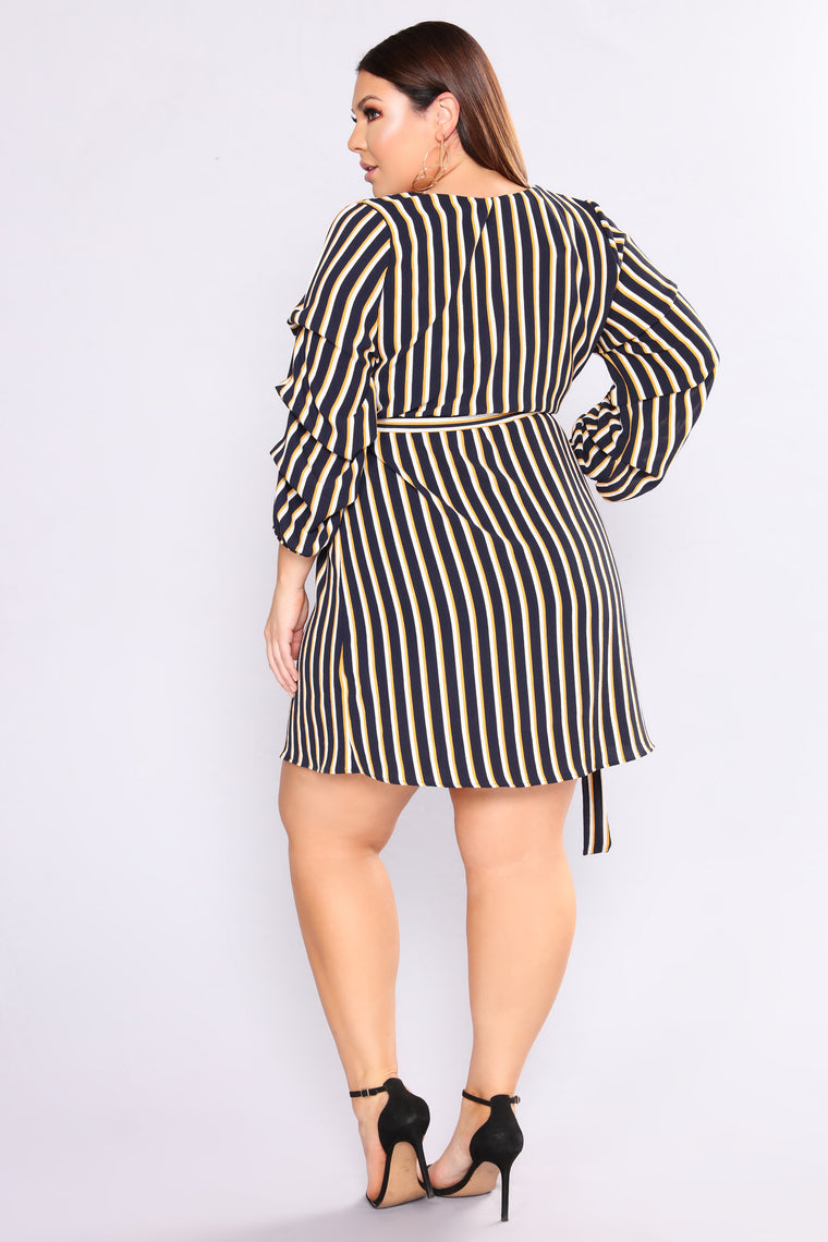 Central Park Striped Dress - Navy/Mustard