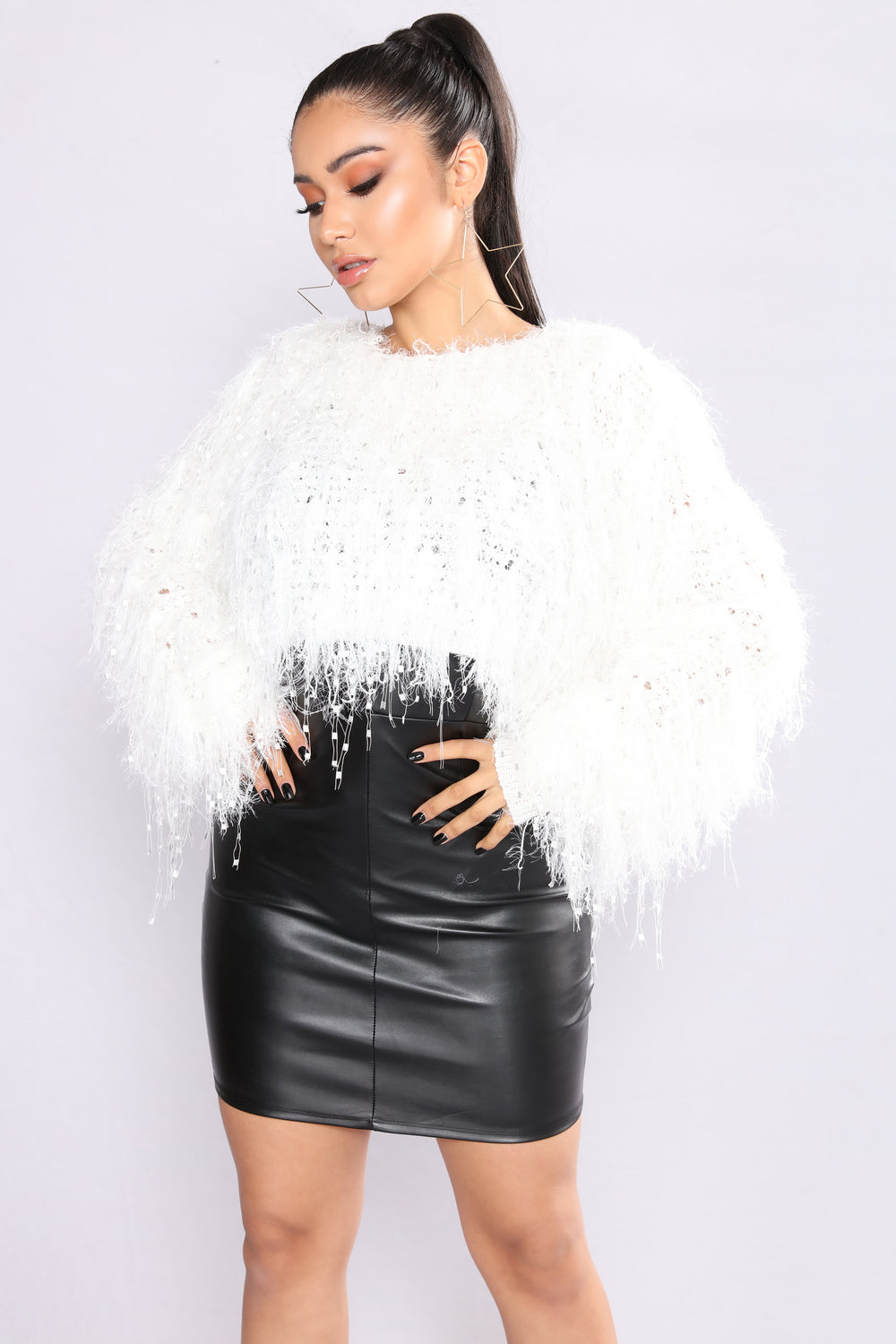 Shagging Up Fuzzy Sweater - Off White