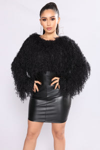 Shagging Up Fuzzy Sweater - Black