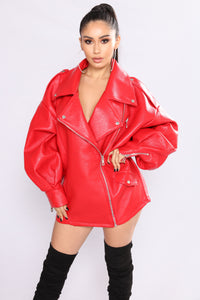 Rollin With The Homies Oversized Moto Jacket - Red