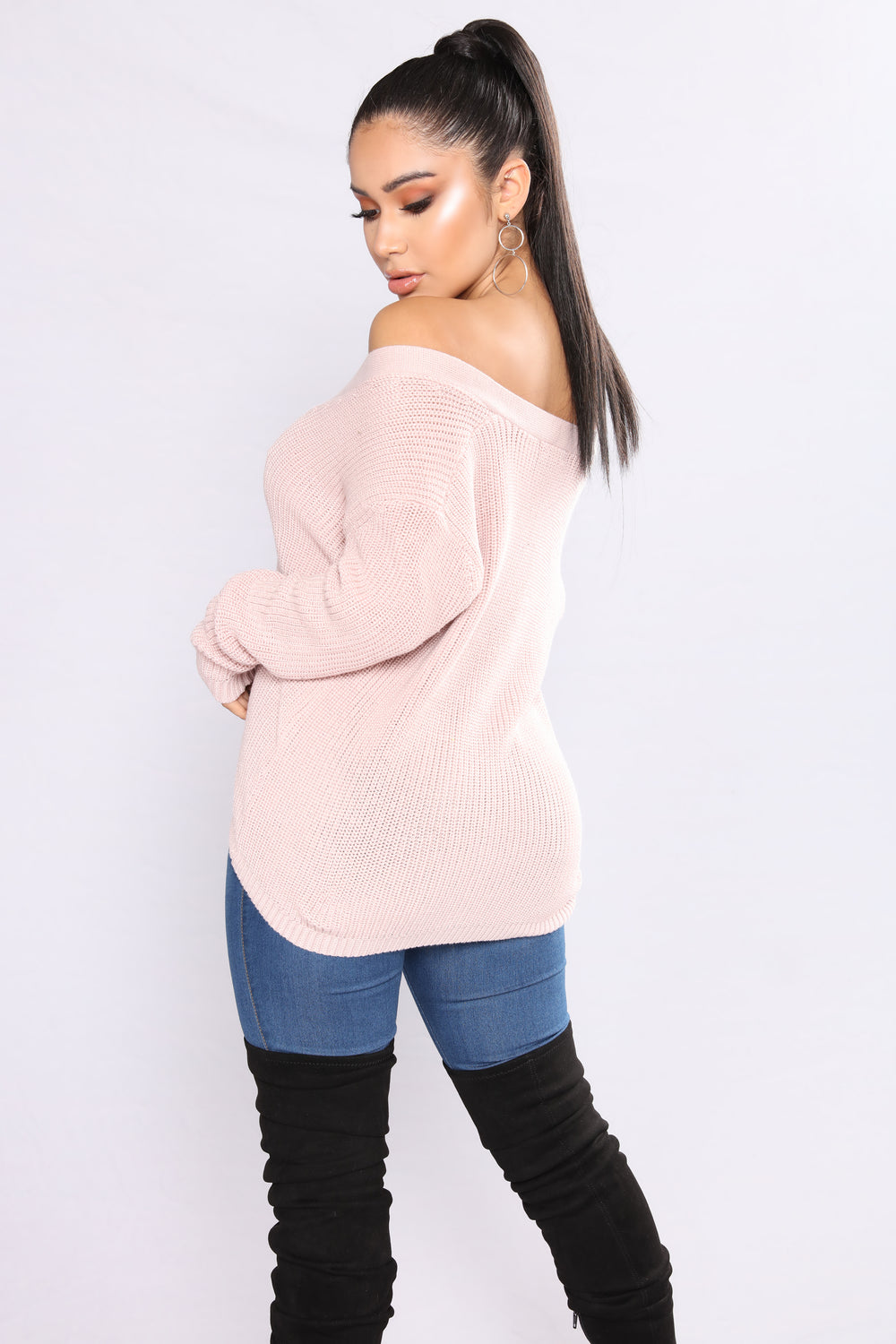Alana Lace Up Sweater - Mauve