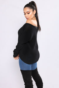 Alana lace Up Sweater - Black