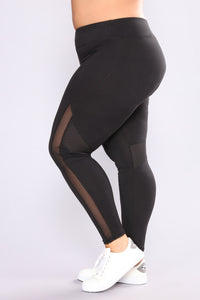 Meshing Up Active Leggings - Black Angle 1
