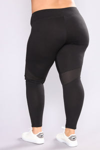Meshing Up Active Leggings - Black Angle 4