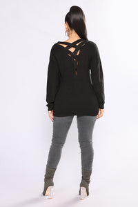 Arya Cross Back Sweater - Black