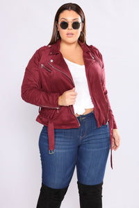 Suede Opinions Moto Jacket - Wine