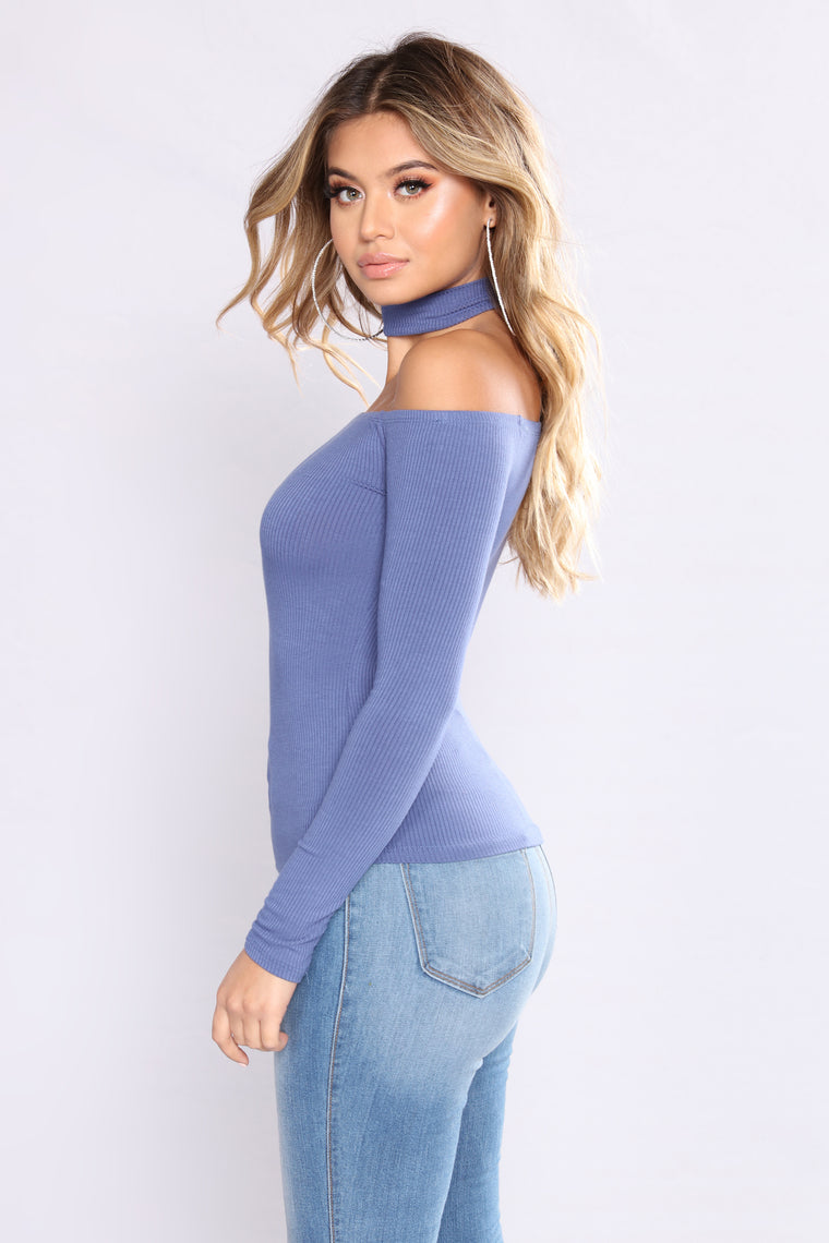 Delina Choker Top - Dark Denim