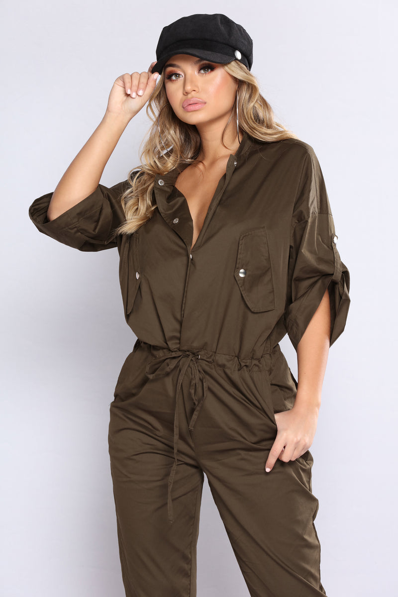 You Better Work Woven Jumpsuit - Olive