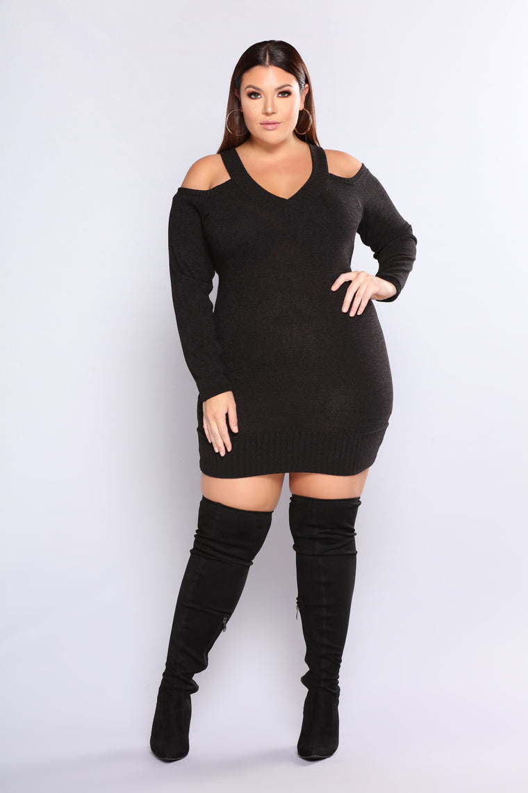 November Cold Shoulder Dress - Black