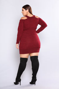November Cold Shoulder Dress - Burgundy