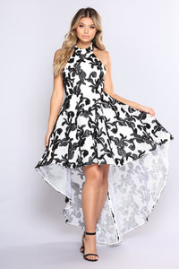 Forever Young High Low Dress - Ivory/Black