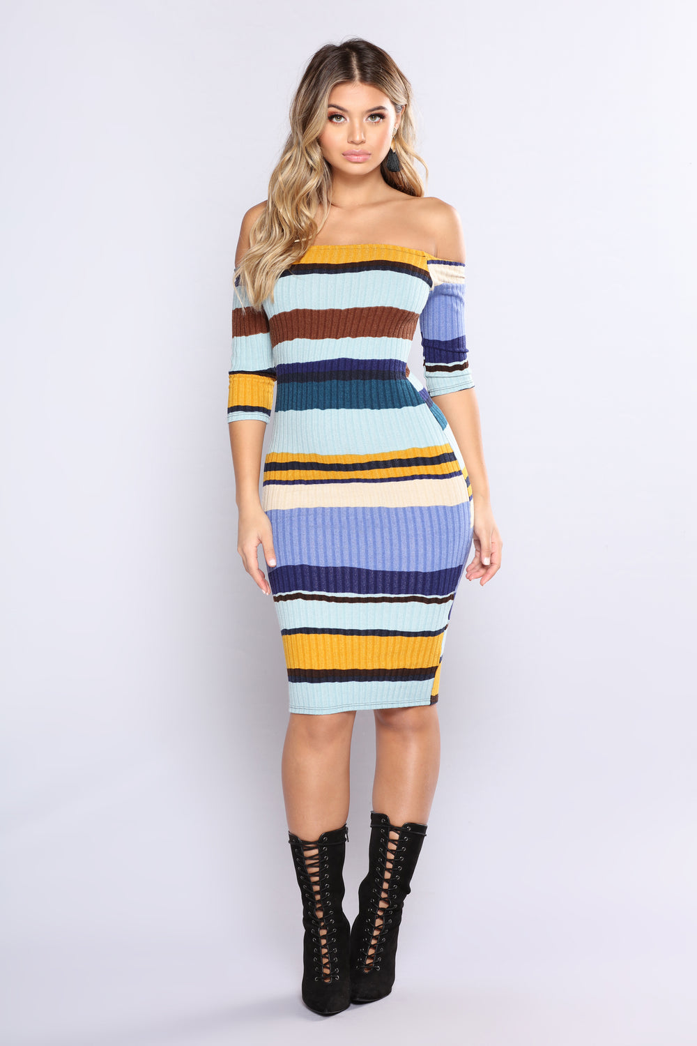Hold Him Tight Striped Dress - Blue Multi