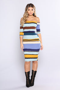 Hold Him Tight Striped Dress - Blue Multi Angle 1