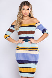 Hold Him Tight Striped Dress - Blue Multi Angle 2