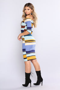 Hold Him Tight Striped Dress - Blue Multi Angle 3