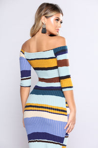 Hold Him Tight Striped Dress - Blue Multi Angle 4