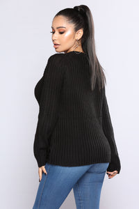 Amanda Distressed Sweater - Black