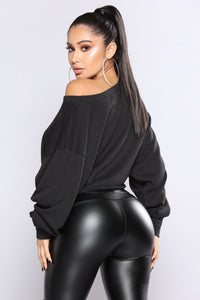 Luciana Cropped Sweatshirt - Black
