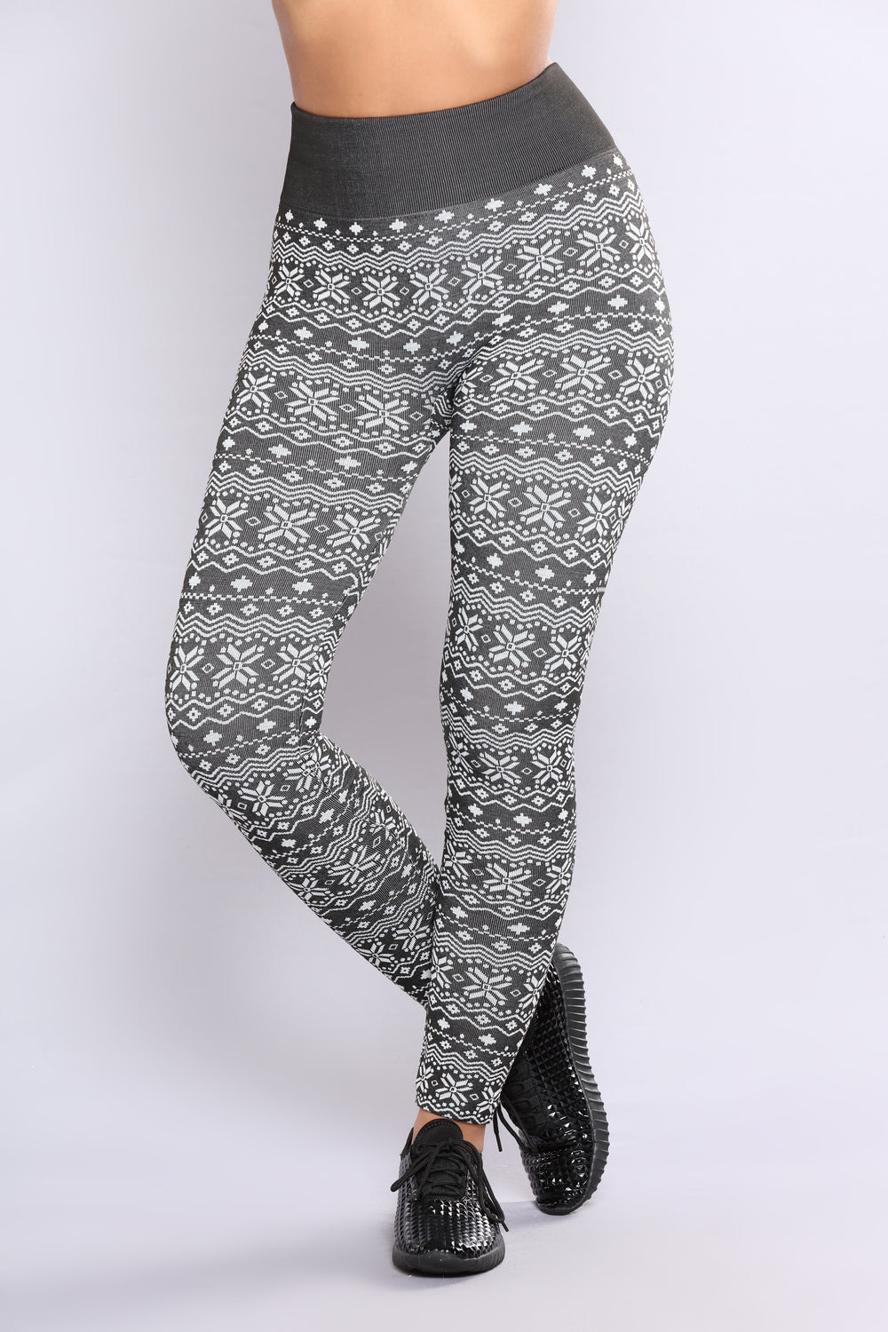 Danna Fleece Lined Leggings - Black/White