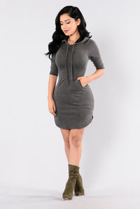 Back In The Hood Dress - Heather Grey