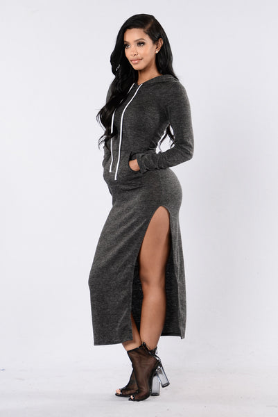 Vibing Dress - Charcoal