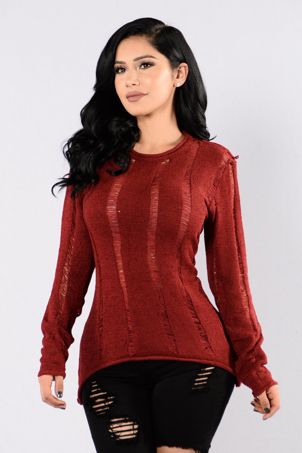 Tear You Apart Sweater - Burgundy