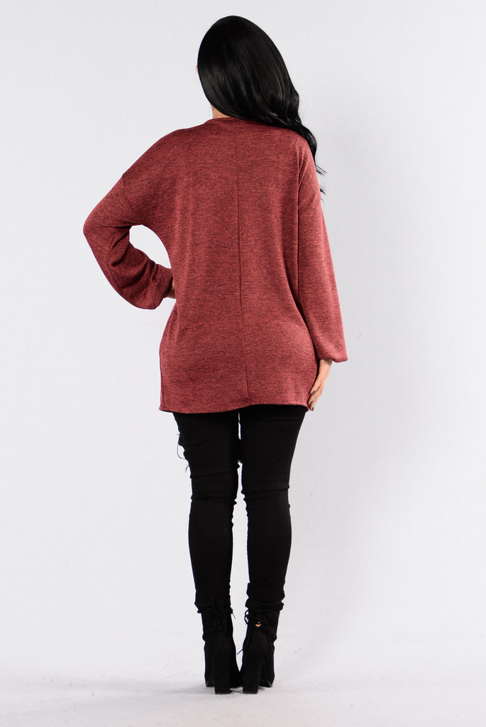 If Only Cardigan - Burgundy
