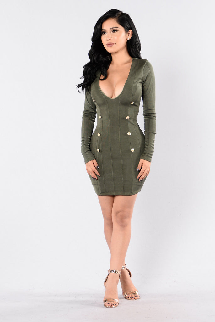 The Raspberry Beret Dress - Olive