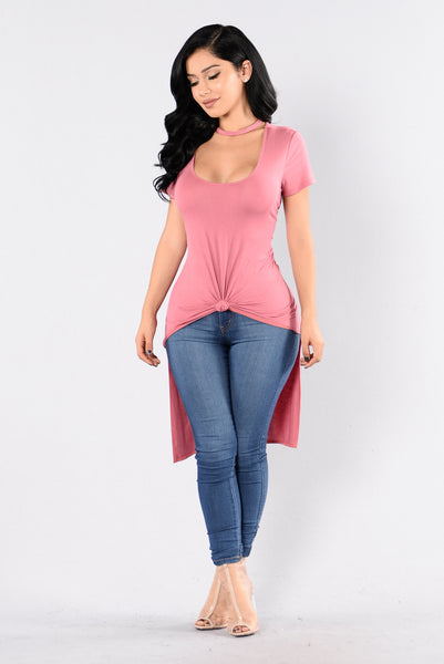 No Curfew Top - Rose Garnet