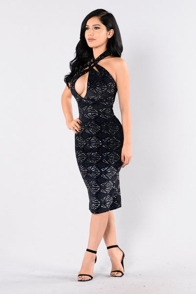 Casino Royal Dress - Silver/Black