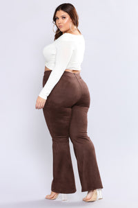 Victoria High Waisted Suede Pants - Brown