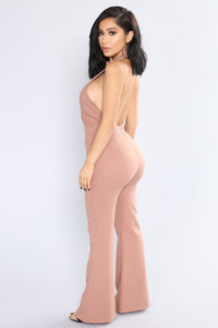Hidden Talent Wide Leg Jumpsuit - Taupe