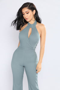 Hidden Talent Wide Leg Jumpsuit - Teal