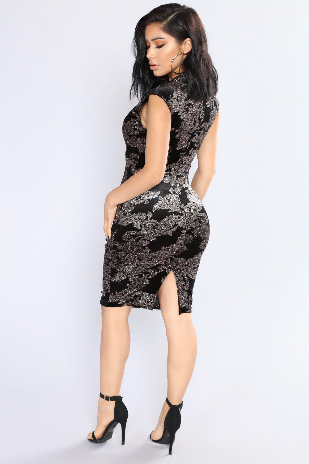 Be My Music Velvet Glitter Dress - Black