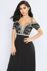 Baroness Embroidered Dress - Black
