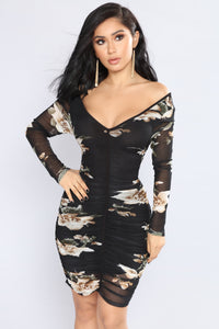 Spices Floral Dress - Black/Mocha