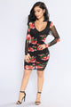 Spices Floral Dress - Black/Red