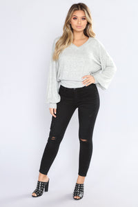 Only Morning Up Sweater - Heather Grey