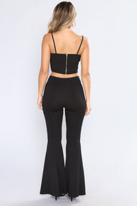 Eliza Beaded Crop Top - Black
