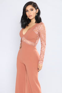 Hanna Lace Cut Out Jumpsuit - Rose